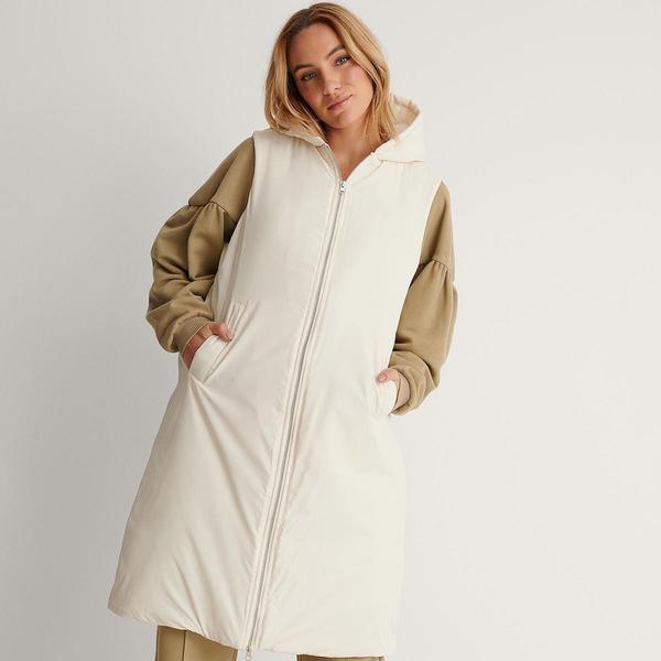 Bilde av NA-KD - Vest Oversized Hooded Offwhite
