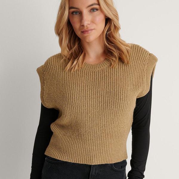 Bilde av NA-KD - Vest Oversized Short Knitted Khaki
