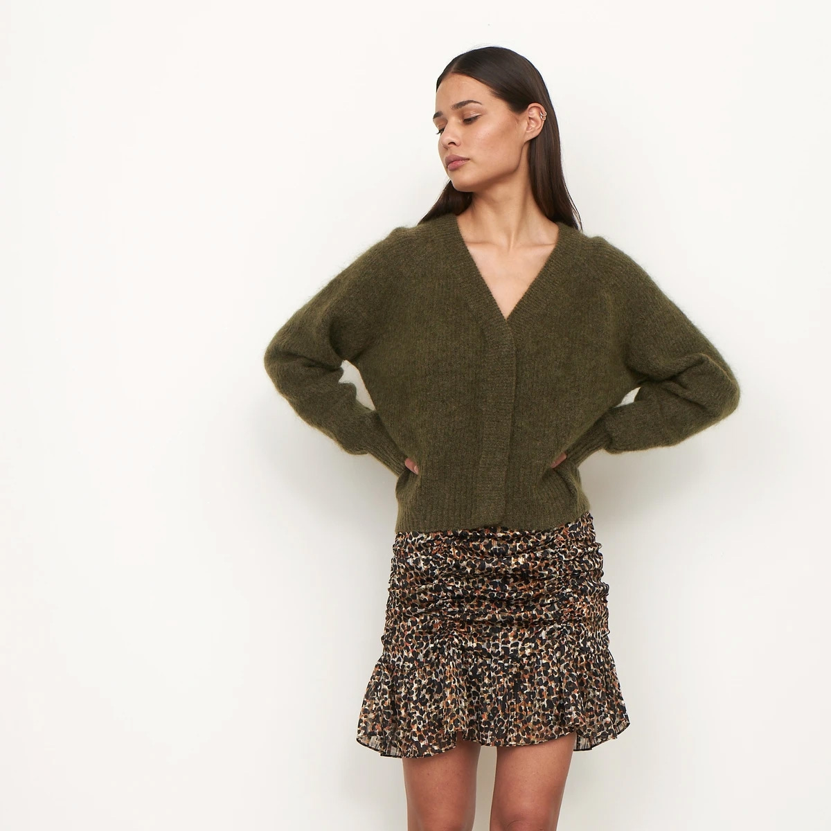 Second Female - Brooky Knit Boxy Cardigan Olive