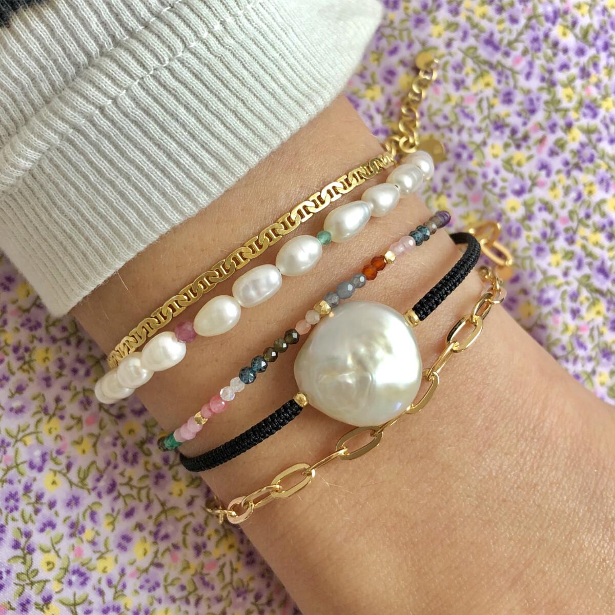 Stine A - Armbånd Big White Pearl