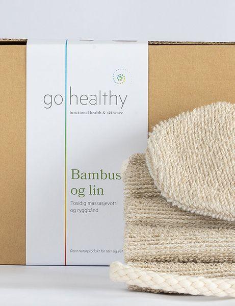 Bilde av GoHealthy Bambus og lin, sett vaskevott og ryggbånd