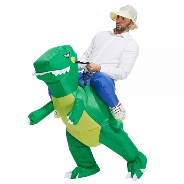 Bilde av Oppblåsbart Dinosaur Kostyme- Med Vifte- Barn/Voksen