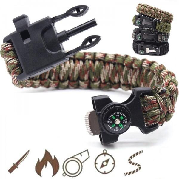 Bilde av Paracord med tennstål, nødfløyte og kompass