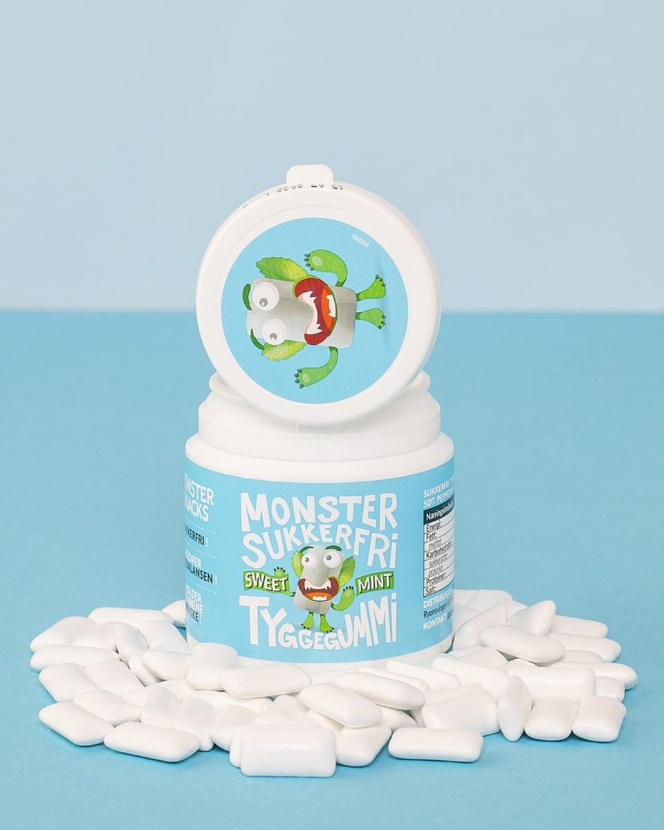 Monster Sukkerfri Tyggegummi 84g- Mint/Jordbær