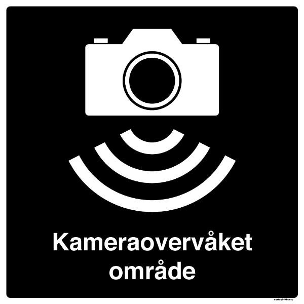 Skilt kameraovervåket område 500 x 500 mm
