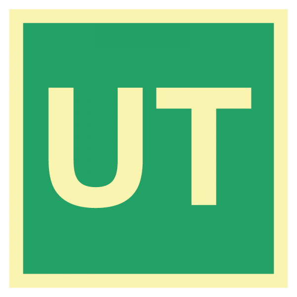 Utgangsskilt i etterlysende plast med teksten UT
