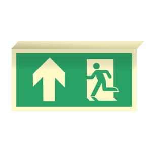 Bilde av Nødutgangsskilt for rømningsvei med pil opp til takmontering