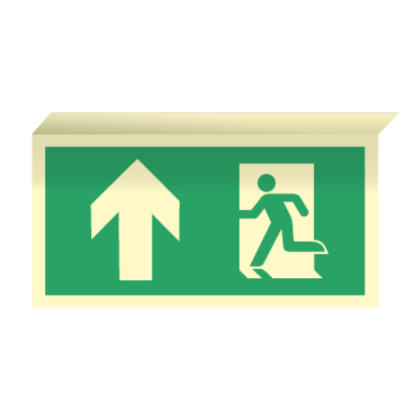 Nødutgangsskilt for rømningsvei med pil opp til takmontering