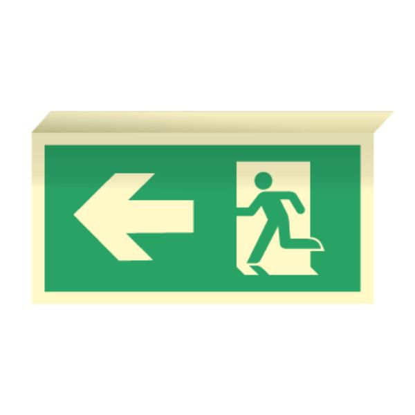 Nødutgangsskilt for rømningsvei med pil venstre til takmontering