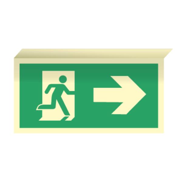 Nødutgangsskilt for rømningsvei med pil høyre til takmontering