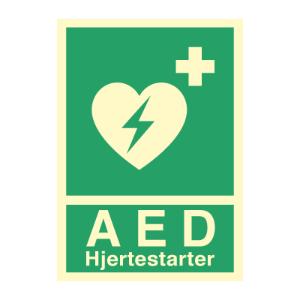 Bilde av AED Hjertestarter - førstehjelpsskilt med symbol og tekst