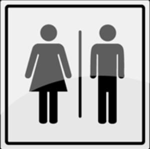 Bilde av Toalettskilt med unisex symbol i rustfritt stål - 150 x 150 mm