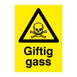 Bilde av Giftig gass - Fareskilt med symbol og tekst