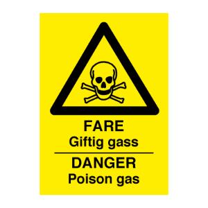 Bilde av Danger poison gas - Fareskilt med symbol og tekst