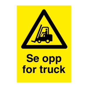 Bilde av Se opp for truck - skilt med symbol og tekst