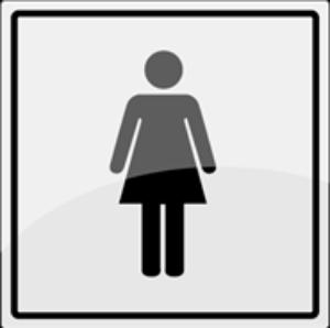 Bilde av Toalettskilt med symbol for dame i rustfritt stål - 150 x 150 mm