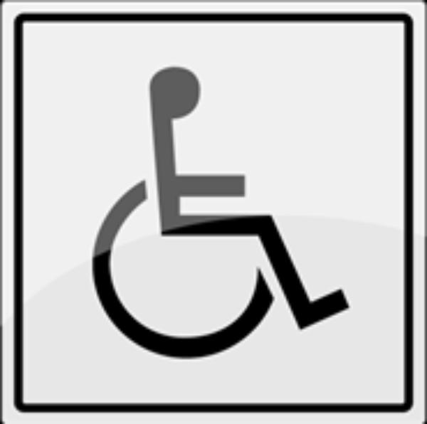 Toalettskilt med symbol for handicap rustfritt stål - 150 x 150