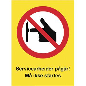 Bilde av Servicearbeider pågår - Forbudsskilt med symbol og tekst