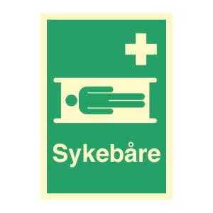 Bilde av Sykebåre - førstehjelpsskilt med symbol og tekst