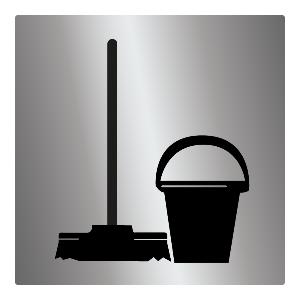Bilde av Dørskilt med piktogram for bøttekott med rengjøringsutstyr