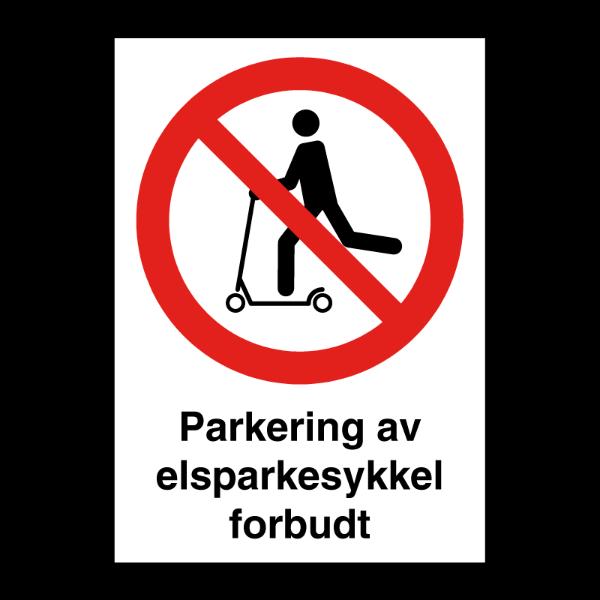 Elsparkesykkel parkering forbudt skilt