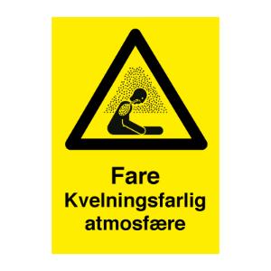 Bilde av Kvelningsfarlig atmosfære - Fareskilt med symbol og tekst