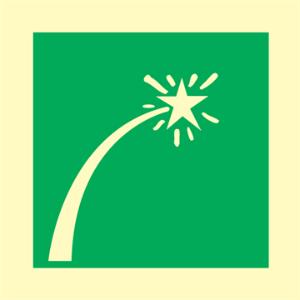 Bilde av Nødsignal for redningsbåter - IMO skilt med symbol