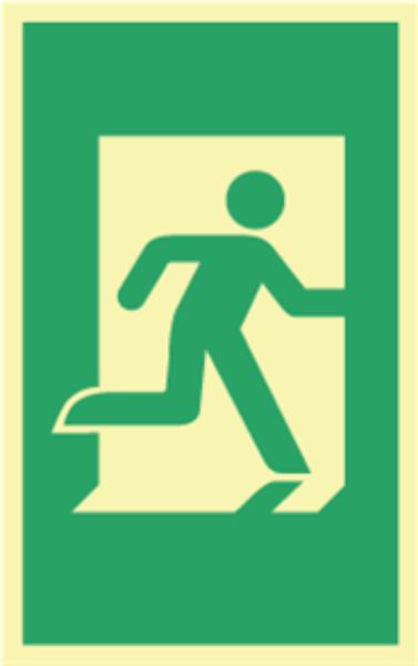 Nødutgang skilt dørhåndtak 160 x 100mm