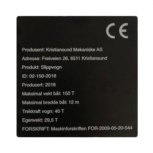 Bilde av Maskinskilt - metallskilt for CE merking av maskiner