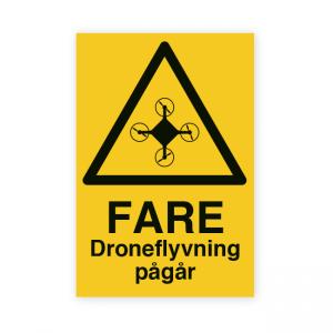 Bilde av Droneflyging pågår - fareskilt med symbol og tekst