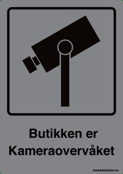 Butikken er kameraovervåket - kameraskilt med symbol og tekst