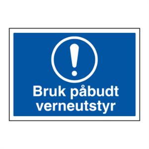 Bilde av Bruk påbudt verneutstyr - Påbudsskilt med symbol og tekst