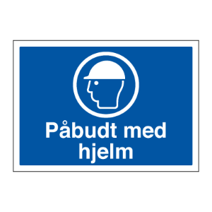 Bilde av Påbudt med hjelm - Påbudsskilt med tekst og symbol