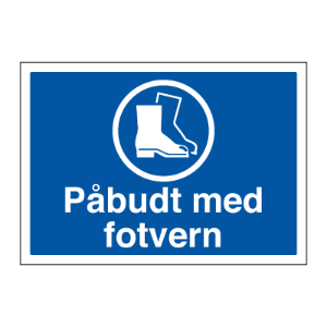 Bilde av Påbudt med vernesko - Påbudsskilt med symbol og tekst