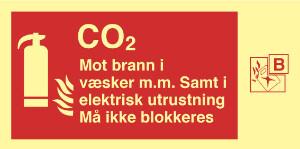 Bilde av Brannskilt for brannslukker med CO2