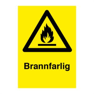 Bilde av Brannfarlig - fareskilt med symbol og tekst
