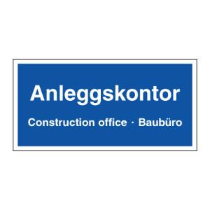 Bilde av Byggeplasskilt for anleggskontor 3 språklig