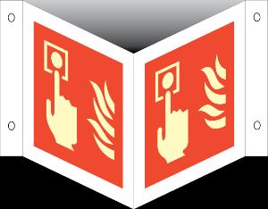 Bilde av Brannalarm - plogskilt med symbol
