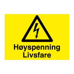 Bilde av Høyspenning livsfare - fareskilt med symbol og tekst