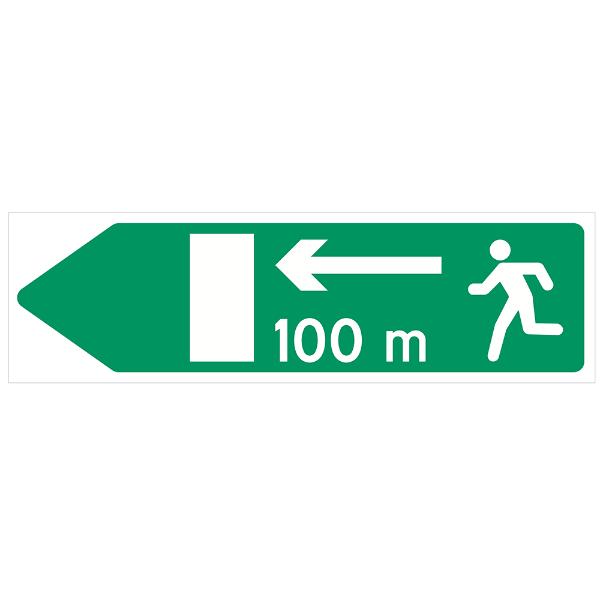 Nødutgangskilt for tunnel med avstand venstre