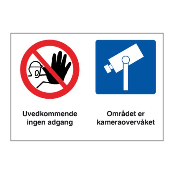 Adgang forbudt - kameraovervåket område kombinasjonsskilt