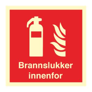 Bilde av Brannslukker innenfor - brannskilt med symbol og tekst