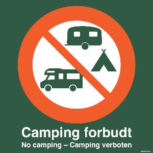 Bilde av Camping forbudt - skilt med symbol og tekst, grønt