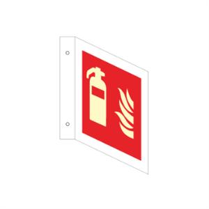 Bilde av Brannslukkerskilt - tosidig L-Skilt 200 x 200 mm