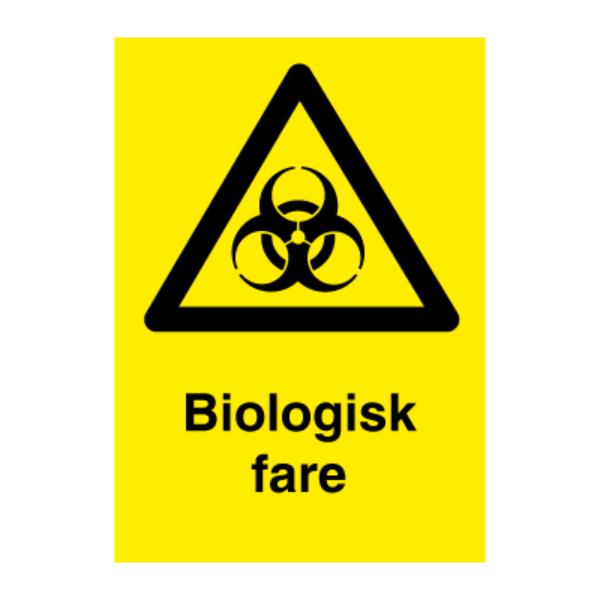 Biologisk fare - Fareskilt med symbol og tekst