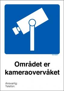 Bilde av Kameraovervåket område skilt med symbol og tekst
