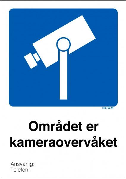 Kameraovervåket område skilt med symbol og tekst