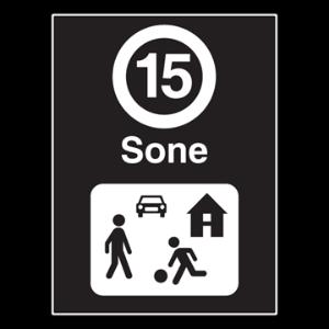 Bilde av Privatrettslig skilt med fartsgrense 15 km/t og symbol