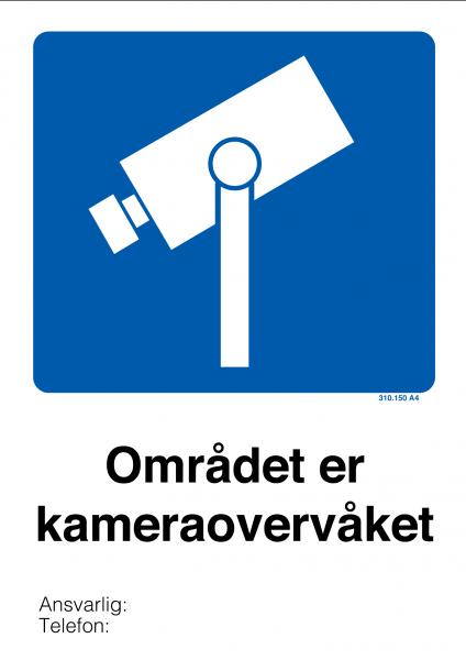 Kameraovervåket område skilt med symbol og tekst 420 × 594 mm