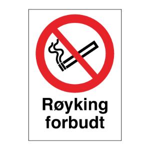 Bilde av Røyking forbudt - Forbudsskilt med symbol og tekst